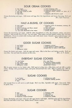 Vintage Recipes: 96 Cookie Recipes from 1940 Retro Recipes, Old Recipes, Vintage Recipes, Cookbook Recipes, Family Recipes, Paleo Recipes, Homemade Cookbook, Group Recipes, Recipies
