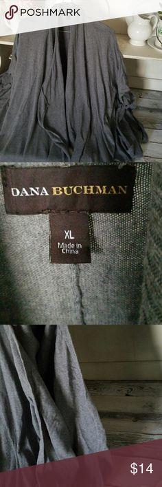 Cardigan flyaway Short sleeve dark grey like new condition! Dana Buchman Sweaters Shrugs & Ponchos