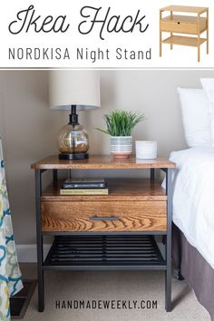 transform a simple IKEA nightstand into an elegant modern idustrial piece with this IKEA nordkisa nightstand hack tutorial. Ikea Furniture Hacks, Ikea Hacks, Ikea Furniture Makeover, Ikea Makeover, Furniture Projects, Furniture Design, Ikea Nightstand, Nightstand Ideas, Nightstands