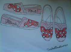 Minnie Mouse Bow TOMS by ToesAndBowsBoutique on Etsy, $79.99