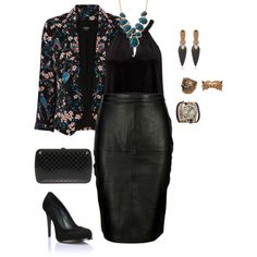 plus size all black sexy glam!, created by kristie-payne on Polyvore