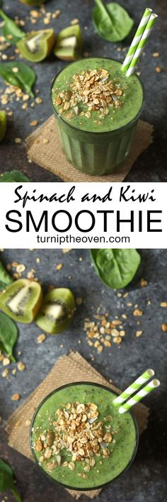 Start your morning off right with the tropical green smoothie made with spinach and kiwi. It's vegan and gluten-free, and a great way to include all-natural fruits and veggies into your daily routine!