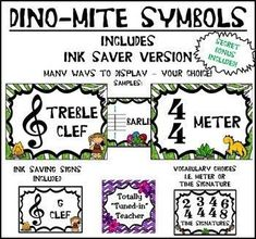 Music is DINO-mite! Music Symbols Posters for your music classroom Music Lesson Plans, Music Lessons, General Music Classroom, Music Education Activities, Music Symbols, Was Ist Pinterest, Elementary Music, Teaching Music, Prehistoric