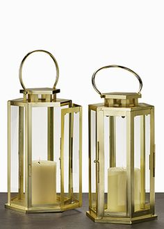 Brass Gold Steel Metal Lantern Candleholders for Ceremony | $22 or $102 for 6