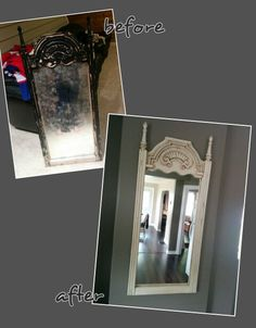 Mirror painted with diy chalk paint