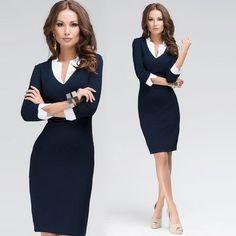 Deep V Neck Trendy Design Sleeve Formal /Casual Women Dress - (optional) / Dark Blue Casual Dresses For Women, Sexy Dresses, Fashion Dresses, Dresses For Work, Office Dresses, Dress Work, Elegant Dresses, Party Dresses, Formal Dresses
