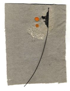 Grey with orange spot - Hand embroidered wool - 24cm x 30cm