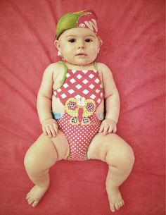 Allegra wears finally a swimwear outfit! Trikini by TuttoPiccolo; Bandana Batik handmade by mommy