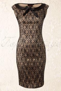 Vixen - 30s Classy Black Lace Pencil Dress Champagne