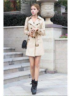 Khaki/Black European Style Fashionable Slimmed Trench Coat