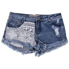 CROCHET PANEL RAW HEM DENIM SHORT - Ally Fashion ❤ liked on Polyvore featuring shorts, bottoms, pants, short, denim shorts, denim short shorts, short shorts, jean shorts and crochet jean shorts