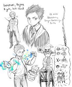Iwaizumi Hajime in Hogwarts, at Slytherin House ('cause Tooru of course xD) from the anime Haikyuu! Iwaoi, Oikawa, Kagehina, Nishinoya, Kuroo, Kenma, Iwaizumi Hajime, Haikyuu Funny, Haikyuu Manga