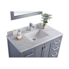 "Laviva Wilson 42"" Cabinet with White Carrara Countertop – EZ Vanities Shaker Style Cabinets, Grey Cabinets, Single Vanities, Inside Cabinets, Porcelain Sink, White Sink, Marble Countertops, Carrara, Panel Doors"