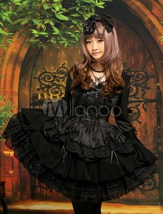 Gothic Black Square Neck Drawstring Long Sleeves Chiffon Jacquard Cute Lolita One-Piece - Milanoo.com