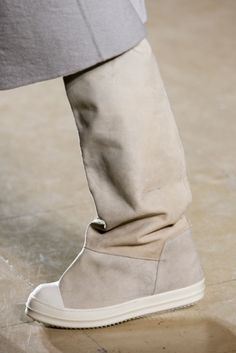 Pale beige leather white sole knee high sneaker boots. Rick Owens, Menswear, RTW FW 2014. Photo: Gianni Pucci / In Digital Images