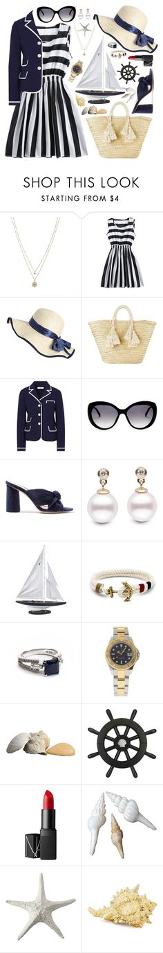"""""""Nautical"""" by tegan-nottle ❤ liked on Polyvore featuring LC Lauren Conrad, Giselle, Tory Burch, ESCADA, Loeffler Randall, Authentic Models, Arabian Silver, Rolex, NARS Cosmetics and Abbott Collection"""