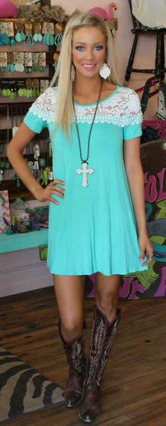 Miley Mint Crochet Trim Dress - The Lace Cactus