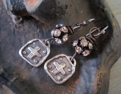 Rustic Rhinestone sterling silver cross earrings 'Small Sparks' sparkily , religious , dainty lightweight artisan bohemian chic