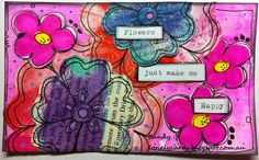 I just used some flowers that I had on my desk to do this one. Some of the deli paper gelli print flowers and some daisies that I drew and cut out.. Trusty old Typewriter came out for the wording...
