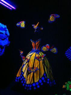violetdomination: Glow in the dark butterfly wearable art.