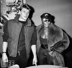 vintage everyday: Dolph Lundgren and Girlfriend Grace Jones Being Superhumans, ca. early 1980s
