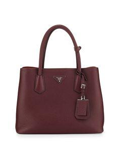 Prada Vitello Daino Small Double Bag BordeauxRed #womensbags