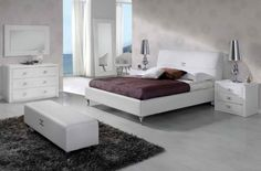 This Modern Platform Bedroom Set features European and modern style. The white bedroom set is an ideal option for a minimal outlook. White Bedroom Set, Bedroom Sets, Head Boards, Bedroom Furniture Design, Queen Bedroom, Diy Home Decor On A Budget, Contemporary Interior Design, Home Interior, Collection