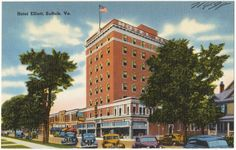 Today this hotel building in Historic Downtown Suffolk, Virginia,  is apartments and the Barons Pub-all haunted. Paranormal World Seekers investigation it for an episode January 21, 2017. This postcard came from 1940s