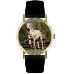 Quarter Horse Black Leather And Goldtone Photo Watch #P0110030 - http://www.artistic-watches.com/2013/01/04/quarter-horse-black-leather-and-goldtone-photo-watch-p0110030-2/