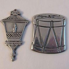 2 Vintage Wilton Pewter Christmas Ornaments - Lantern and Drum
