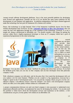 Most of the businesses worldwide choose Java for their website development need. However, for this, companies will have to Hire Java Developer who can create the best web application through his or her expertise in this technology. Professional Website, Open Source, Web Application, Best Web, Software Development, Java, India, Technology, Create