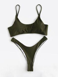 Shop Army Green High Leg Bikini Set online. SheIn offers Army Green High Leg Bikini Set & more to fit your fashionable needs.