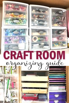 Craft Room Organization Guide Take control of your craft space so you can happily be creative. Craft room organization so you can find your supplies, clean up your mess quickly, and know what you have to use in your next craft project. Scrapbook Organization, Craft Organization, Small Craft Rooms, Space Crafts, Craft Space, Craft Room Design, Diy Home, Home Decor, Craft Room Storage