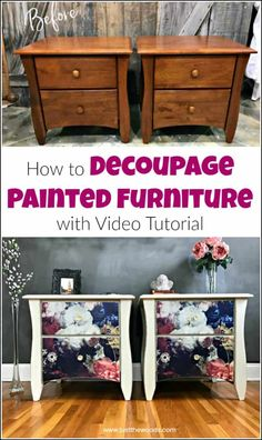 See how to add tissue to painted furniture with this decoupage furniture tutorial with video. Using mod podge glue and decoupage paper anything is possible. - Decoupage Furniture Tutorial: How to Add Tissue to Painted Furniture Refurbished Furniture, Paint Furniture, Repurposed Furniture, Furniture Projects, Rustic Furniture, Furniture Making, Furniture Makeover, Cool Furniture, Furniture Design