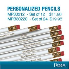 PERSONALIZED PENCILS from Regal Gifts Premium white pencils, laser engraved with up to 60 characters including spaces and punctuation - great for schools, churches and business customers!