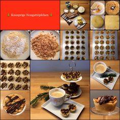Knusprige Nougattöpfchen 24 Stück in einer Minimuffinform (man kann auch die doppelte Menge auf einmal machen) Teig 125 g Mehl 60 g Zucker 80 g Butter 1 Eigelb Schale von 1…