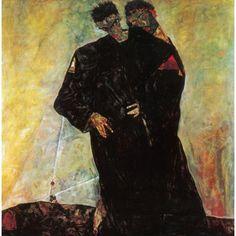 Posterazzi The Hermits 1912 Canvas Art - Egon Schiele (24 x 36)