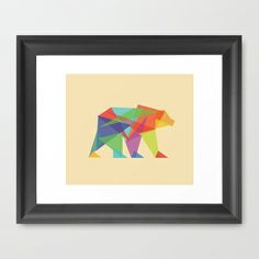 Fractal Geometric bear Framed Art Print by Budi Satria Kwan - $37.00