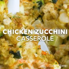- A co-worker shared this chicken zucchini casserole recipe that was originally her grandmother's. When I make it, I use pre-cooked chicken from the grocery store and fresh zucchini my neighbor gives me from his garden. —Bev Dutro, Dayton, Ohio Gourmet Recipes, New Recipes, Dinner Recipes, Cooking Recipes, Favorite Recipes, Healthy Recipes, Easter Recipes, Crockpot Recipes, Vegetarian Recipes