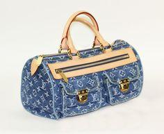 "LOUIS VUITTON, 2005: fancy handbag model ""NEO SPEEDY DENIM"", limited edition!  Blue Monogram Denim, bill about € 955, - and dust bag attached, VERY NICE UNC!   minimum bid 600 EUR"