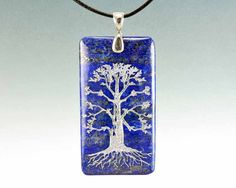 Tree of Life  Large Engraved Lapis Lazuli  Pendant by CreativeArtandSoul