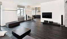 Bijna zwart: zeer donkere parket vloer