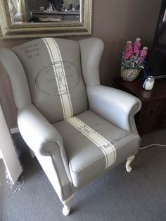 A gorgeous wingback chair painted in French Linen Chalk Paint® decorative paint by Annie Sloan | By Pretty In Paint https://www.facebook.com/myprettyinpaintsite?hc_location=stream