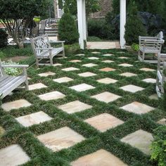 patio pavers with grass | Atlanta Home Red Mondo Grass Design Ideas, Pictures, Remodel, and ...