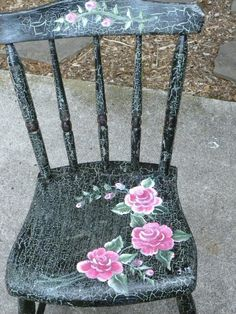 Painted Chair Crackle Finish black with pink  Roses 5 spindle back