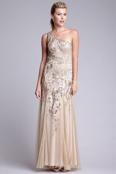 Sue Wong Beaded One Shoulder Gown in Antique Champagne