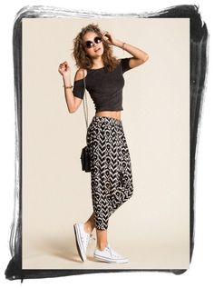 Slouchy pants   cropped tees.