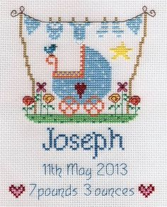 image of New Baby Boy Sampler Cross Stitch Kit