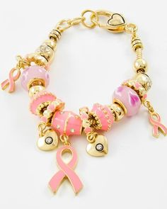 Antique Gold Tone / Pink Epoxy & Pandora Glass / Lead Compliant / Pink Ribbon & Heart Charm / Lobster-claw Bracelet