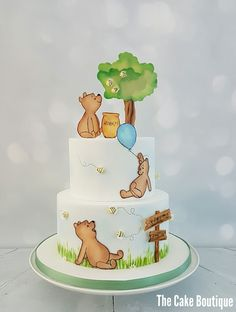 Winnie the pooh cake, christening. the cake bou Winnie The Pooh Cake, Vintage Winnie The Pooh, Winnie The Pooh Birthday, Baby Party, Baby Shower Parties, Baby Shower Themes, Baby Shower Food For Girl, Baby Shower Cakes, 1st Birthday Girls